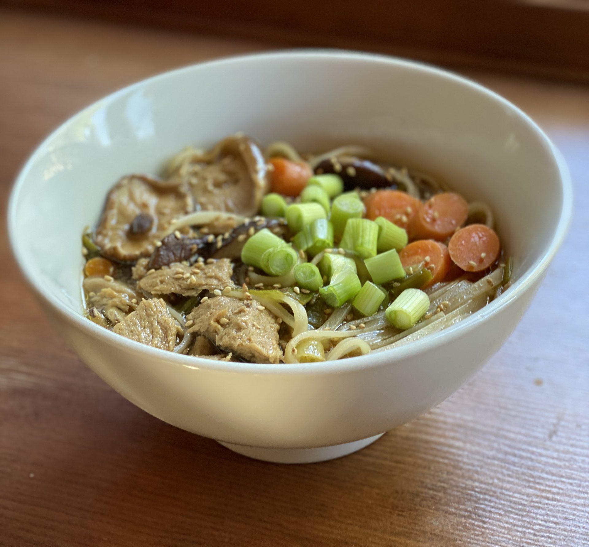 """Asian """"Chicken"""" Noodle Soup – It's Vegan!"""